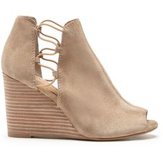 4ea202e6bef Lucky Brand Reevas Peep Toe Wedge ( 109) ❤ liked on Polyvore featuring shoes