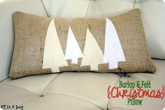 Christmas burlap pillow