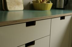 Detail of grab handles and green formica and birch ply worktop Plywood Furniture, Kitchen Furniture, Kitchen Interior, Furniture Handles, Furniture Ideas, Beautiful Kitchens, Cool Kitchens, Plywood Kitchen, Formica Countertops