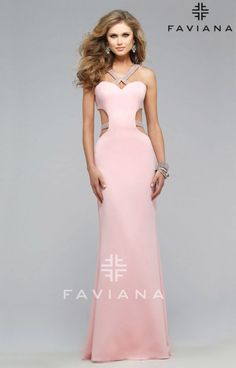 Hello gorgeous cut outs in this floor length Faviana 7702. This gown is simple with subtle detailing that is just enough for you to stand pretty on your special occasion! From its halter top neck line to its stunning open back and studded straps; Faviana 7702 doesn't lack with embellished details.