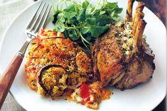 Feta and rosemary lamb racks with tomato bake main image