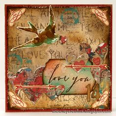 Layers of ink - Vintage Valentine's Card by Anna-Karin. Made with Sizzix dies by Tim Holtz, and Tim Holtz stamps and inks.
