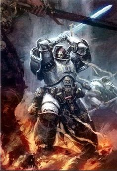 A Brotherhood Champion of the Grey Knights confronts a daemon of Chaos.