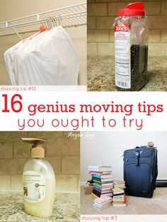 Moving Tips You Ought to Try. I already do all of these except for using Saran wrap under the lids for spices (top right picture). Brilliant!!!