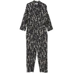 Printed Wrap Jumpsuit ($80) ❤ liked on Polyvore featuring jumpsuits, v neck jumpsuit, wrap jumpsuits, mango jumpsuit, floral jumpsuit and jump suit