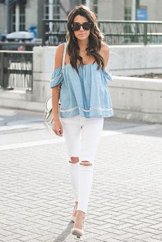 spring / summer - summer fashion - summer outfits - beach outfits - casual outfits - off the shoulder chambray top, white distressed skinny jeans, nude pointy toe heels, white shoulder bag, brown sunglasses
