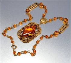 Czech Art Deco Necklace Glass Gold Fleur di Lis Vintage 1920s Jewelry