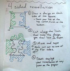 Middle School Art, Art School, School Stuff, High School, Escher Art, Mc Escher, Tessellation Patterns, Tesselations, 6th Grade Art