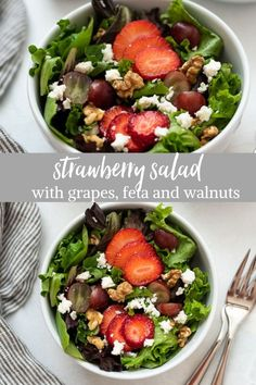 This Strawberry Salad recipe is brimming with juicy ripe strawberries, sweet grapes, feta cheese and toasted walnuts. It's tossed in a flavorful balsamic dressing for the ultimate summer salad! #saladrecipes #strawberrysalad #glutenfree Strawberry Banana Muffins, Strawberry Recipes, Fresh Salad Recipes, Lunch Recipes, Summer Recipes, Soup Recipes, Strawberry Fields Salad, Balsamic Dressing, Walnut Salad