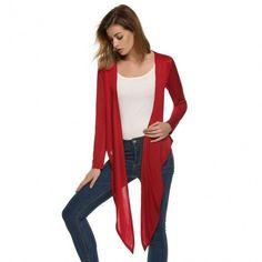 Women Long Sleeve Essential Long Cascading Cardigan