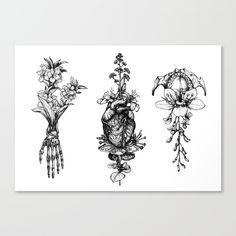 heart, black, handmade, flowers...