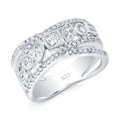 18k white gold dazzling fashion mix diamond band embedded with round white diamonds features 101