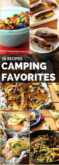 26 Favorite Camping Recipes from Taste of Home including: Blueberry-Cinnamon Campfire Bread, No-Bake Cereal Cookie Bars, Campfire Cheese Hash Brown Packets and more!