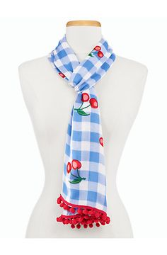 Cherries & Gingham Scarf - Talbots