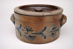 Stoneware Crock | Decorated Stoneware Pennsylvania Lidded Butter Crock