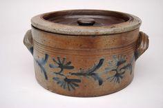 Stoneware Crock | Decorated Stoneware Pennsylvania Lidded Butter Crock