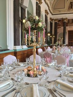 Blush, gold & ivory wedding styling with our pink chiffon hoods & ruffles and stunning gold candelabras by Debonair Venue Styling