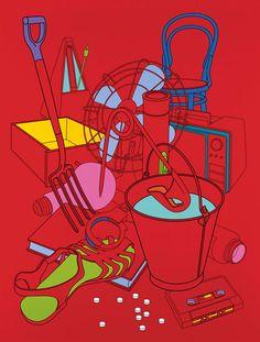 Michael Craig-Martin - Biding Time (Red) – 2004 Acrylic on aluminium sheeting x Purple Umbrella, Michael Craig, Kids Computer, Still Life Artists, Wall Drawing, A Level Art, Gcse Art, Everyday Objects, Color Of Life