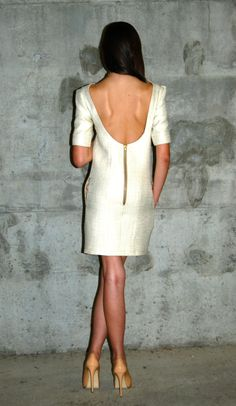 I adore anything and everything white! white tweed backless dress