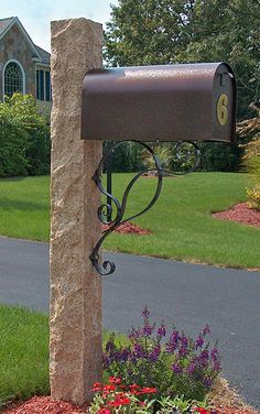 Golden Wheat Granite Mailbox Post   Rock 4 Sides Finish With Copper Color  Mailbox With House