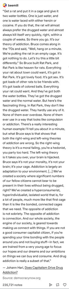 Theory of Addiction The More You Know, Good To Know, Things To Know, Things To Think About, My Tumblr, Tumblr Posts, Dissociation, Faith In Humanity, Thought Provoking