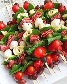 Antipasto Skewers! Perfect for a barbecue, party, or picnic! Easy to make and a beautiful addition to any food table!