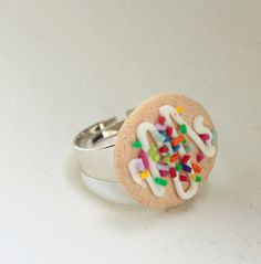 Sugar Cookie with Sprinkles Food Ring - Miniature Food Jewelry