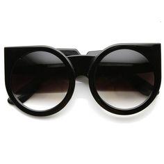 Womens Designer Fashion Super Bold Round Cat Eye Sunglasses 9278 | zeroUV