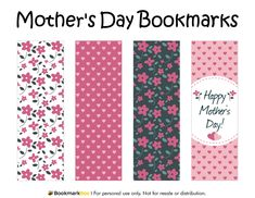 Free printable Mother's Day bookmarks. Download the PDF template at http://bookmarkbee.com/bookmark/mothers-day/