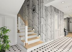 Tapeta Cole & Son Cole And Son, Interior Stairs, House, Wallpapers, Home Decor, Ideas, Stair Decor, Decoration Home, Room Decor