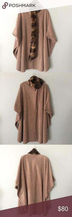 Faux fur Cape Super cozy and warm, this Beautiful faux fur fleas Cape is everything. This nude Cape is perfect for any outfit and it's animal friendly, that just makes it extra chic 👌🏼  W52 x L42 ✅ will bundle 👌🏼✅🚭 ✅ all reasonable offers will be considered 👍🏼 🚫No Trading 🙅🏻 Poshmark rules only‼️ Preston & York Jackets & Coats Capes