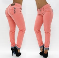 Salmon Color Skinny Jean $52.95 Shop Now > www.pompisstores.com