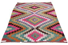 This is bohemian kilim rug comes from tribal areas of Southern Turkey, an area rug found in a dowry chest with no sign of use. It is a 100% handwoven rug woven on wooden loom by flat weave. It was made of finest animal fiber that of wool, on organic cotton fringes. All the fibers were colored with vegetable dyes in the area... It is a vintage item approximately 60 years old.  Care and Maintenance: Regular vacuum cleaning and/or shaking the rug will remove loose dirt and fluff pile. Immediate…
