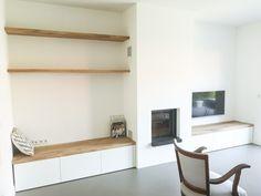 TV meubel – Creatief op maat Entryway Bench, Floating Shelves, Tiny House, Flooring, Living Room, Interior, Furniture, Tvs, Home Decor