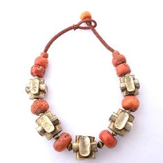 Sumba coral bead, gilded silver bracelet/necklace : Lot 4444
