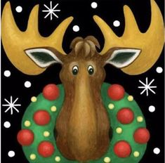 Small Christmas Moose with Wreath Diamond Painting Kit Full Drill. by OurCraftAddictions Christmas Moose, Christmas Wreaths, Christmas Crafts, Christmas Ornaments, Christmas Windows, Christmas Canvas, Christmas Ideas, Decoupage, Paint Prices