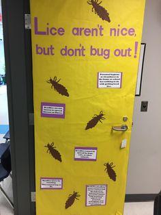 School nurse lice bulletin board / door cover