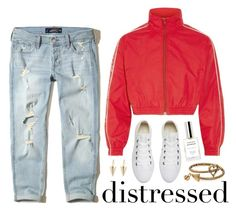 """""""True Blue: Distressed Denim"""" by miee0105 ❤ liked on Polyvore featuring Fresca, Hollister Co., Vetements, Converse, Alex and Ani and Julien David"""