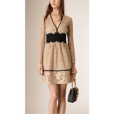 Burberry Empire Line Patchwork Lace Dress ($3,795) ❤ liked on Polyvore featuring dresses, lace cocktail dress, empire waist cocktail dress, floral cocktail dress, beige dress and lace empire waist dress