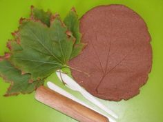 Autumn Play Dough Leaf Prints: using scented play dough