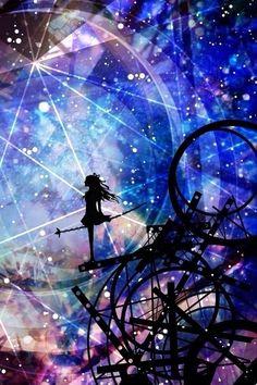 illustrations by Miyuki Harada – Anime Art Art Anime, Anime Artwork, Manga Art, Galaxy Wallpaper, Wallpaper Backgrounds, Fantasy Landscape, Fantasy Art, Anime Plus, Anime Galaxy