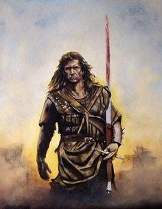 oil on board Vengeance Medieval Knight, Medieval Fantasy, Dark Fantasy, Scottish Warrior, Celtic Pride, William Wallace, Cinema, Mel Gibson, Movie Poster Art