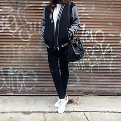 """MOMENTS OF SPUR on Instagram: """"New addition to my casual jacket collection - love this @sportsgirl bomber! Worn with #zara sweat, #jbrand jeans, #stansmiths and #givenchy bag. #sportsgirl #momentsofspur"""""""