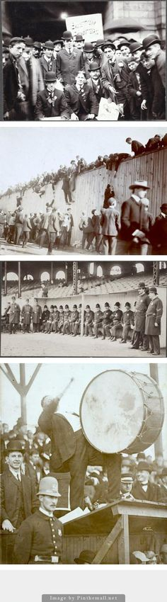 ROYAL ROOTERS were the highly devoted, rowdy supporters of the Boston RED SOX. During the 1903 World Series, a squabble broke out between team management and the Rooters over ticket allocation. These photos are a partial record. - created via http://pinthemall.net