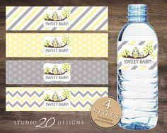 Instant Download Yellow Owl Baby Shower Water by Studio20Designs
