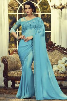 Online Shopping of Light Cyan Color Party Style Art Silk Fabric Fancy Saree With Embroidered Blouse from SareesBazaar, leading online ethnic clothing store offering latest collection of sarees, salwar suits, lehengas & kurtis Sky Blue Saree, Blue Silk Saree, Silk Sarees, Fancy Sarees, Party Wear Sarees, Net Blouses, Bollywood Saree, Silk Fabric, Blue Fabric