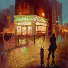 """""""Ed's Diner' Soho"""". On Old Compton Street. Oil on board 12"""" x 12"""" SOLD"""