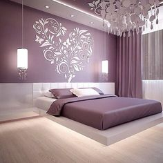 Best Glidden Interior Paint Colors for a Purple Bedroom Bedroom Bed Design, Bedroom Furniture Design, Modern Bedroom Design, Home Decor Bedroom, Purple Bedroom Design, Bedroom Ideas, Purple Interior, Bedroom Frames, Bedroom Wall