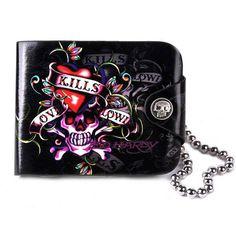 Mens Designer Black Skull Studded Emo Punk Fashion Wallets Bags SKU-11408051