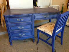 CeCe Caldwell's Maine Harbor Blue with dark wax. The hardware was painted with Pittsburgh Gray. Desk Makeover, Furniture Makeover, Distressed Furniture, Painted Furniture, Furniture Inspiration, Furniture Ideas, Boys Desk, Dark Wax, Milk Paint
